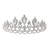 CLEAR/SILVER PEAR SHAPED STONES  TIARA WITH RHINESTONES