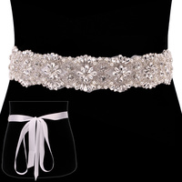 FABRIC WEDDING BELT W/ RHINESTONE