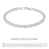 WHITE GOLD PLATED CZ TENNIS BR