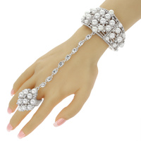 RHINESTONE AND PEARL STRETCH SLAVE BRACELET
