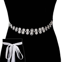 RHINESTONE WEDDING SASH TIE BELT