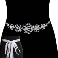 DAISY RHINESTONE BELT W/RIBBON BELT