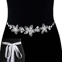 FLOWER RHINESTONE BELT W/RIBBON BELT