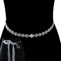 RHINESTONE BRIDAL BELT W/ RIBBON