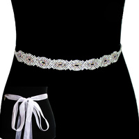 Rhinestone Wedding Tie Sash Belt Btm1321Sca