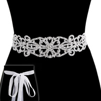Rhinestone Wedding Tie Sash Belt Btm