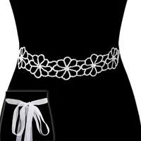 Rhinestone Flowers Wedding Tie Sash Belt Btm1565Scl