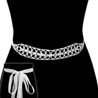 Rhinestone Flowers Wedding Tie Sash Belt Btm1567Scl