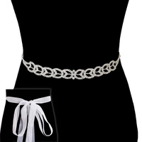 Rhinestone Wedding Tie Sash Belt Btm1721S