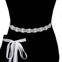 Rhinestone Wedding Tie Sash Belt Btm1722S