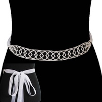 Rhinestone Wedding Tie Sash Belt Btm1742S
