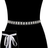 Rhinestone Wedding Tie Sash Belt Btm837S