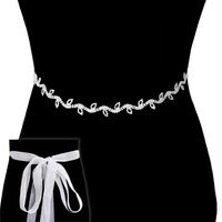 Rhinestone Wedding Tie Sash Belt Btm841S