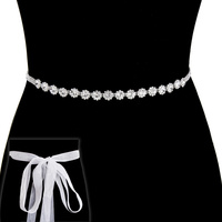 Rhinestone Wedding Tie Sash Belt Btm845Scl