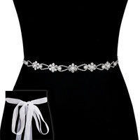 Rhinestone And Pearl Wedding Tie Sash Belt