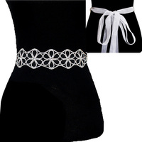 Rhinestone Wedding Tie Sash Belt Btm853Scl