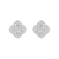 CUBIC 4 LEAF CLOVER STUD EARRING