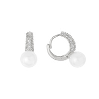 CZ AND PEARL DROP EARRING