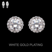Round CZ Stone Clip Stud Earrings