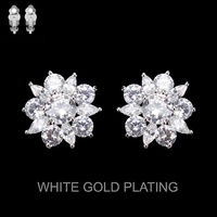 CZ Stone Flower Clip Earrings