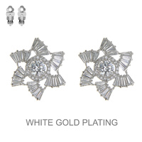 Cz Stone Flower Clip Earrings Eccz5245Rcl