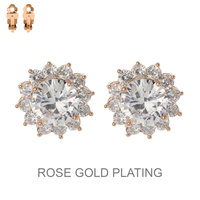 PLATED CZ STONE FLOWER CLIP ER