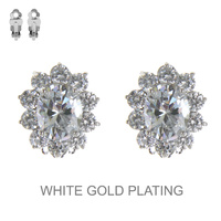 Cz Stone Flower Clip Earrings Eccz5248Rcl