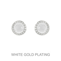 SILVER CUBIC WHITE GOLD PLATING PEARL CLIP EARRING