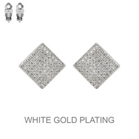 SILVER CUBIC WHITE GOLD PLATING RHOMBUS CLIP EARRING