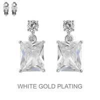 CUBIC GOLD PLATING STONE CLIP EARRING