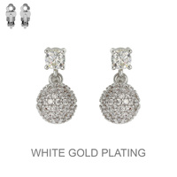 SILVER CUBIC WHITE GOLD PLATING DISCO BALL CLIP EARRING