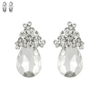 STONE OVAL CLUSTER CLIP EARRING
