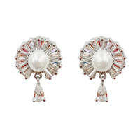 PLATED PEARL AND CZ DROP EARRING