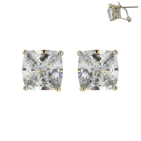Small Square Cz Stud With French Clip Post Earrings Ecz3273Cl