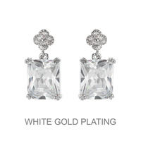 Dangly Square Cz Earrings With White Gold Plating