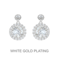 Dangly Round Cz Earrings With White Gold Plating Ecz4358Rcl