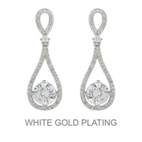Dangly Teardrop Cz Earrings With White Gold Plating