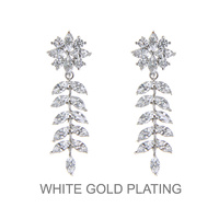 Dangly Cz Flower With Leaf Earrings With White Gold Plating
