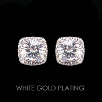 Square Cz Stud Earrings With White Gold Plating