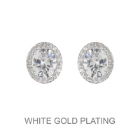 ROUND CUBIC WHITE GOLD EARRING