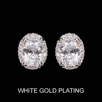 Oval Cz Stone Stud Earrings With White Gold Plating