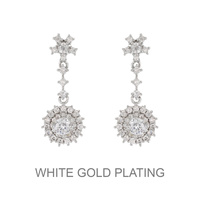 Dangly Round Cz Stone Earrings With White Gold Plating Ecz4591R