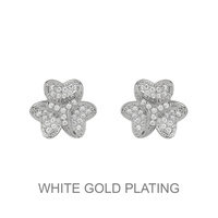 3D Metal With Small Cz Stones Flower Stud Earrings Ecz4601R