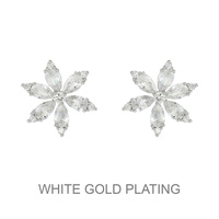 6 Cz Marquise Flower Stud Earrings Ecz4610R