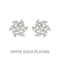 Round Cz With Leaf Edge Stud Earrings Ecz4615R