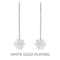 Dangly Cz Stone Cluster Flower With Bar Earrings With White Gold Plating
