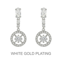Round Dangly Cz Stone Earrings With White Gold Plating Ecz5586Rcl