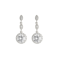 ROUND DROP CRYSTAL CUBIC EARRINGS