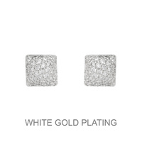 CRYSTAL CZ SQUARE STUD EARRING