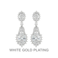CRYSTAL CUBIC DOUBLE STONE DANGLY POST EARRING